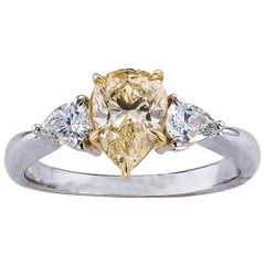GIA Report Certified 1.00 Carat Fancy Light Yellow Diamond Engagement Ring