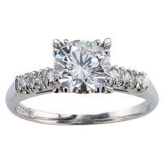 GIA Report Certified 1.52 Carat Diamond Solitaire Platinum Engagement Ring