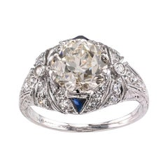 GIA Report Certified 2.10 Carat Diamond Art Deco Engagement Ring