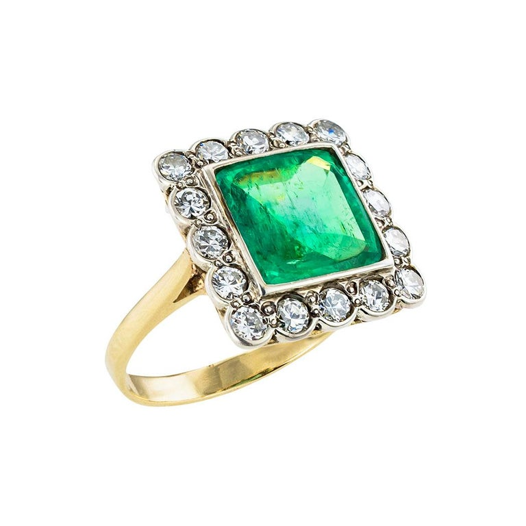 GIA report certified Colombian emerald and diamond ring circa 1920.  Clear and concise information you want to know is listed below.  Contact us right away if you have additional questions.  We are here to connect you with beautiful and affordable