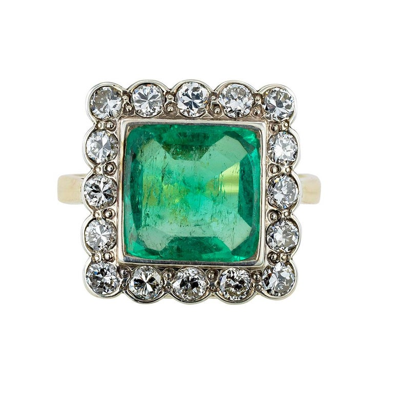 Art Deco GIA Report Certified Colombian Emerald Diamond Gold Silver Ring For Sale