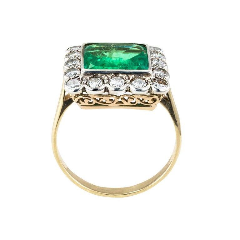 Square Cut GIA Report Certified Colombian Emerald Diamond Gold Silver Ring For Sale