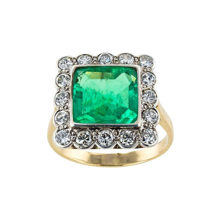 GIA Report Certified Colombian Emerald Diamond Gold Silver Ring For Sale