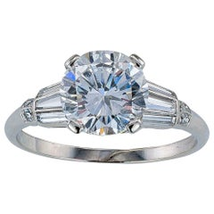 GIA Report Certified D Color 1.65 Carat Diamond Platinum Engagement Ring