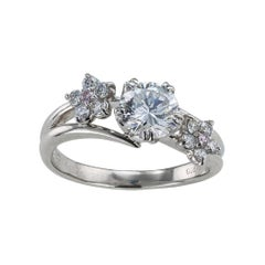 GIA Report Certified F Color 0.85 Carat Diamond Platinum Engagement Ring