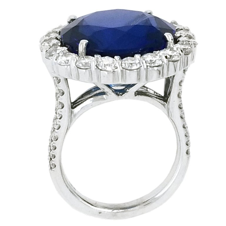 Round Cut GIA Round Shaped Tanzanite Split Shank Pave Set Engagement Ring with Halo For Sale