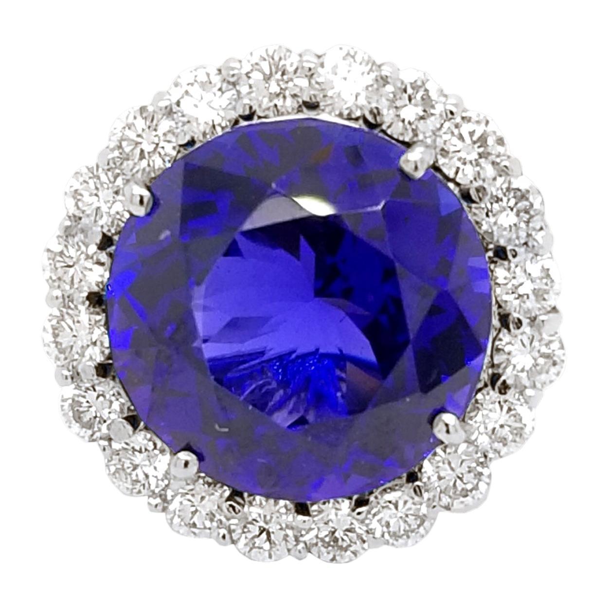 16.67Ct GIA Round Shaped Tanzanite Split Shank Pave Set Engagement Ring w. Halo
