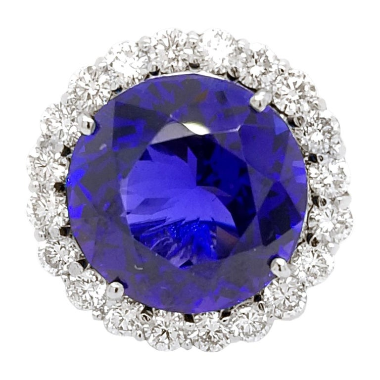 GIA Round Shaped Tanzanite Split Shank Pave Set Engagement Ring with Halo For Sale