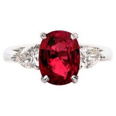 GIA Ruby Diamond 3-Stone 18 Karat Engagement Ring