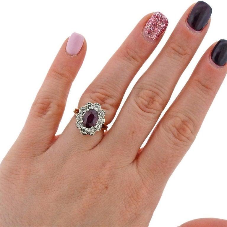 Women's GIA Ruby Platinum Gold Diamond Ring For Sale