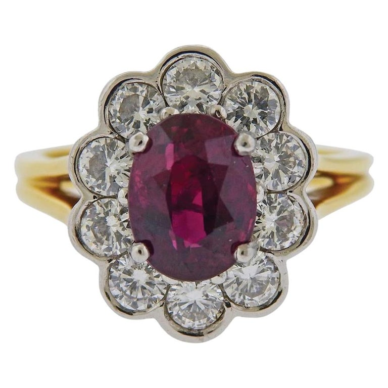 GIA Ruby Platinum Gold Diamond Ring For Sale