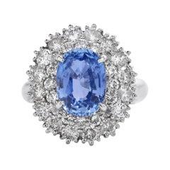 GIA Sapphire Diamond Platinum Cocktail Double Halo Ring