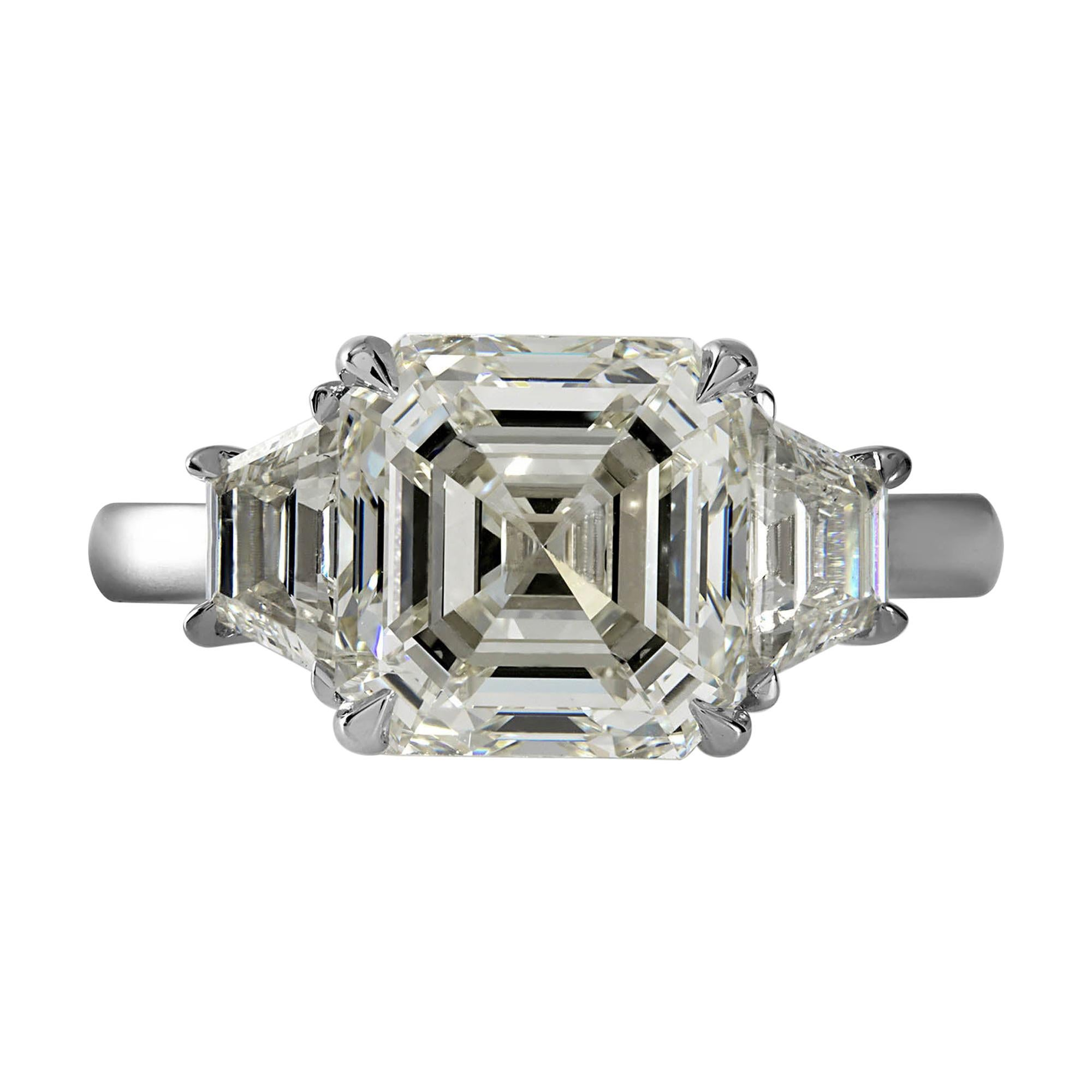 GIA Shy 5 Ct Estate Vintage Asscher Diamond 3 Stone Engagement Wedding Platinum