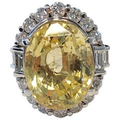GIA Sri Lanka No Heat Yellow Sapphire Oval with Diamonds Cocktail Ring in Plat