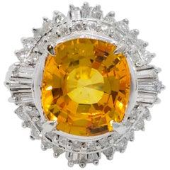 GIA Sri Lanka Orange Yellow Sapphire Cushion and White Diamond Cocktail Ring