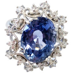 GIA Sri Lankan Blue Sapphire Oval with Diamond Cocktail Ring in 18 Karat Gold