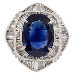 GIA Thai Blue Sapphire Oval and White Diamond Cocktail Ring in Platinum
