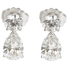 GIA Tiffany & Co. Round and Pear Shape Drop Earrings