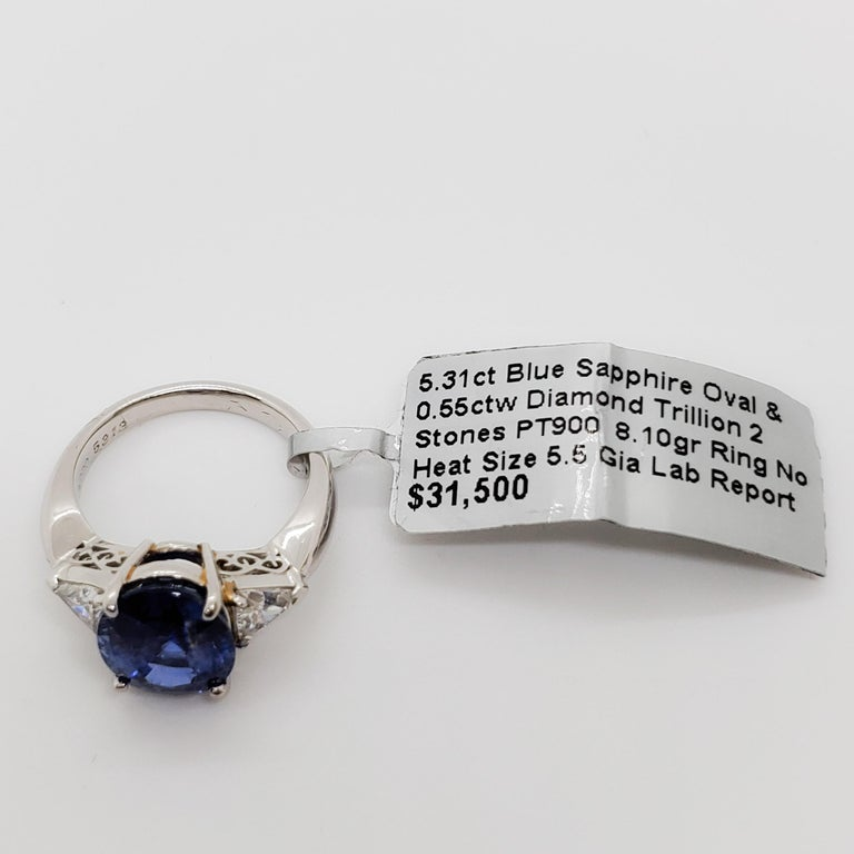 GIA Unheated Blue Sapphire Oval and White Diamond Three-Stone Ring For Sale 1