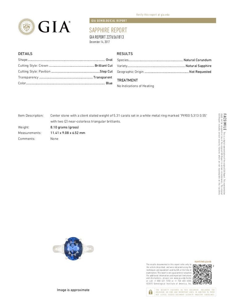 GIA Unheated Blue Sapphire Oval and White Diamond Three-Stone Ring For Sale 2