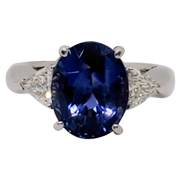 GIA Unheated Blue Sapphire Oval and White Diamond Three-Stone Ring For Sale