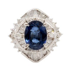 GIA Unheated Estate Blue Sapphire Oval and White Diamond Cocktail Ring