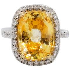 GIA Unheated Estate Yellow Sapphire Cushion and White Diamond Cocktail Ring