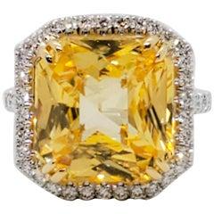 GIA Unheated Estate Yellow Sapphire Octagon and White Diamond Cocktail Ring