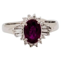 GIA Unheated Mozambique Ruby Oval and White Diamond Cocktail Ring