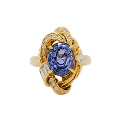 GIA Unheated Sri Lanka Blue Sapphire Oval and White Diamond Cocktail Ring