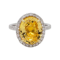 GIA Unheated Yellow Sapphire Oval and White Diamond Cocktail Ring