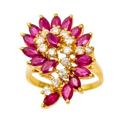 GIA Vintage 14k Gold Ruby and Diamond Ring