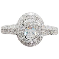 GIA White Diamond Oval and Pave Ring in Platinum