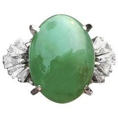 GIA Wow Platinum Natural Jadeite Jade A Diamond Ring 8.48 Carat 10.7g