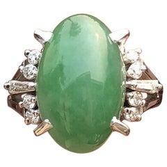 GIA Wow Platinum Natural Jadeite Jade AAA Diamond Ring 6.83 Carat