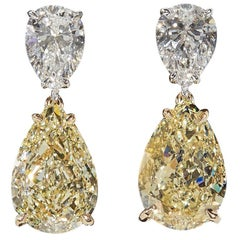 GIA Yellow and White Diamond Earrings