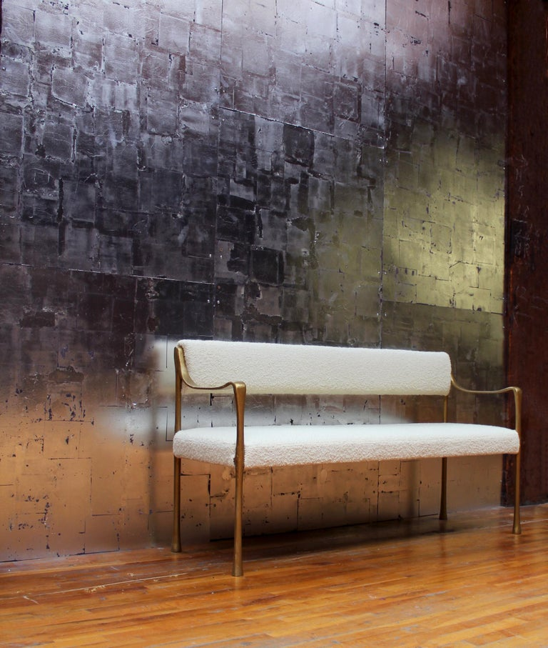 American Giac Settee with Aluminium Hand-Patinated Frame Contemporary Seating For Sale