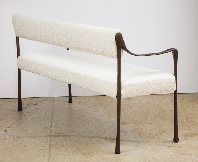 American Giac Settee with Oil-Rubbed Bronze Hand Patinated Frame Contemporary Seating