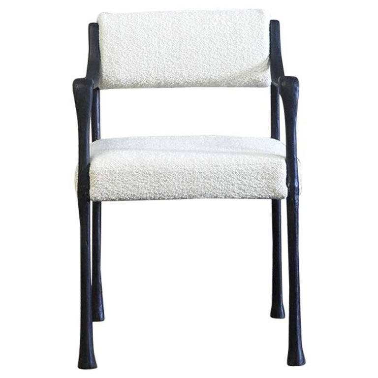 Giac Side/Dining Chair with Aluminum Hand-Patinated Frame Contemporary Seating