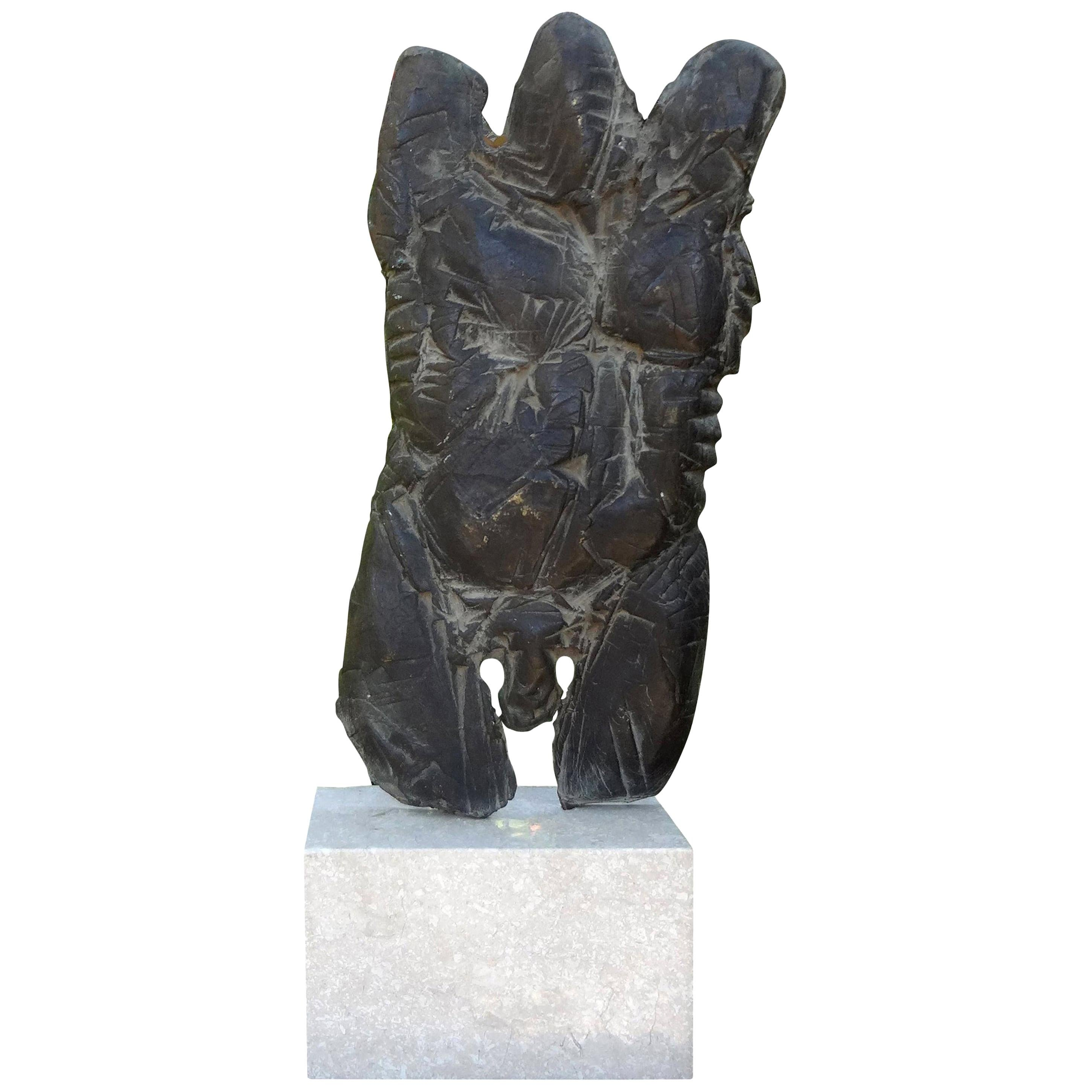 Giacometti Inspired Abstract Male Torso Bronze Sculpture on Marble Base