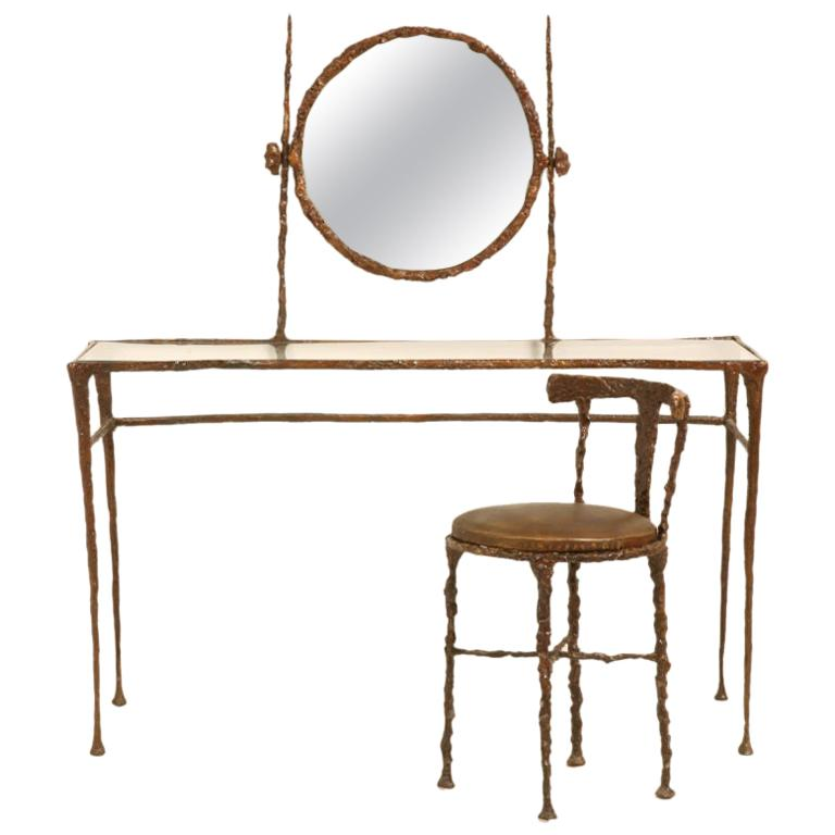 Giacometti Inspired Bronze Dressing Table For Sale