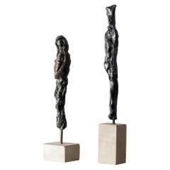 Giacometti Inspired Bronze Group by Uta Falter, 1924