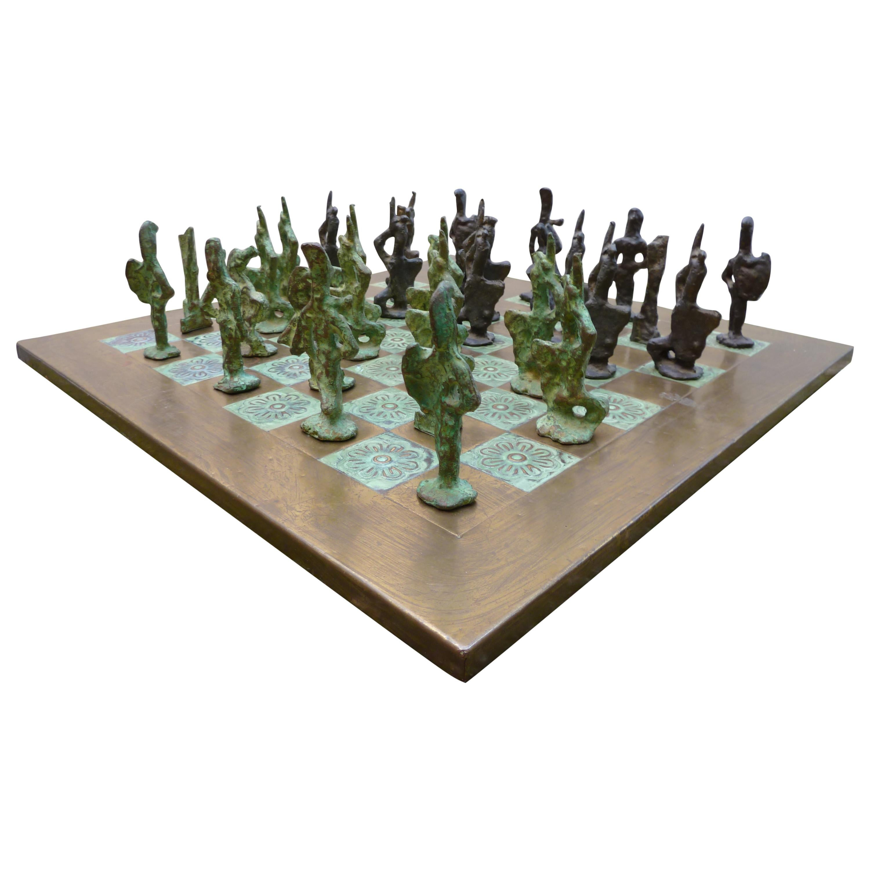 Giacometti Inspired Brutalist Bronze Chess Set