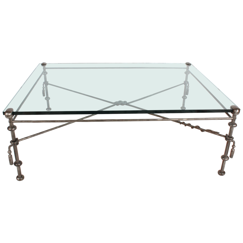 Giacometti Style Wrought Iron & Glass Coffee Table