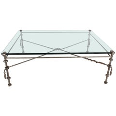 Giacometti Style Wrought Iron & Glass Coffee Table