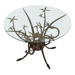 Giacometti Inspired Wrought Iron Table with Figural Animals