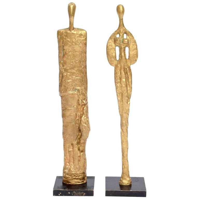 Pair of Giacometti Style Bronze Sculptures Mid-Century Modern For Sale