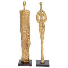 Giacometti Style Bronze Sculptures Vintage Pair of Mid-Century Modern