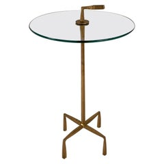 Giacometti Style Gilt Bronze Glass Top Side Table