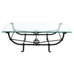 Giacometti Style Glass Top Coffee Table